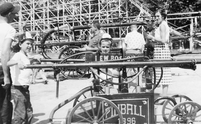 Pinball hand pumper at Pine Island muster in 1952 or 1953
