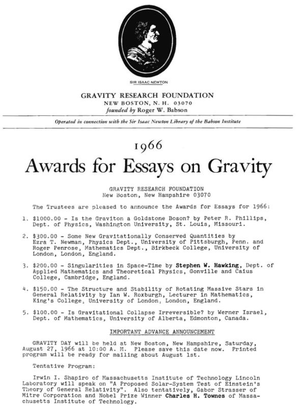 Gravity Research Foundation 1966 awards